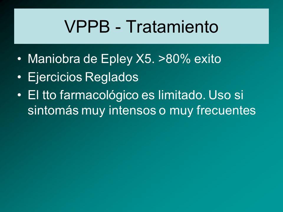 VPPB - Tratamiento Maniobra de Epley X5. >80% exito