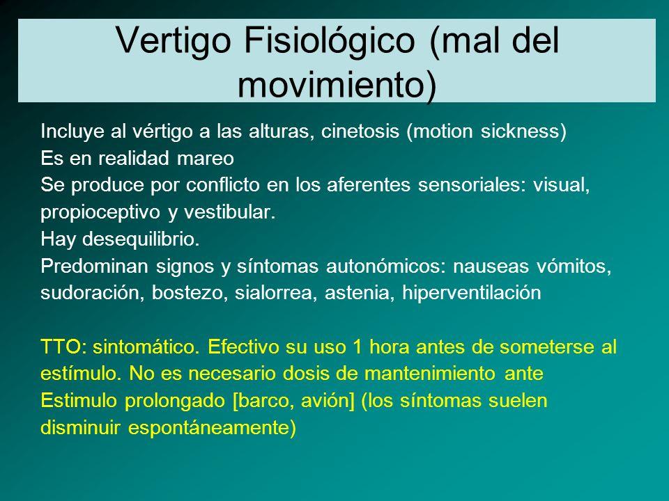 Vertigo Fisiológico (mal del movimiento)