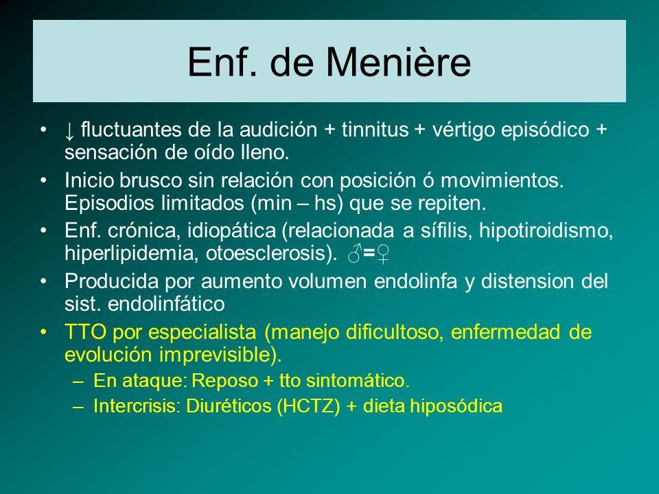 Enf. de Menière ↓ fluctuantes de la audición + tinnitus + vértigo episódico + sensación de oído lleno.