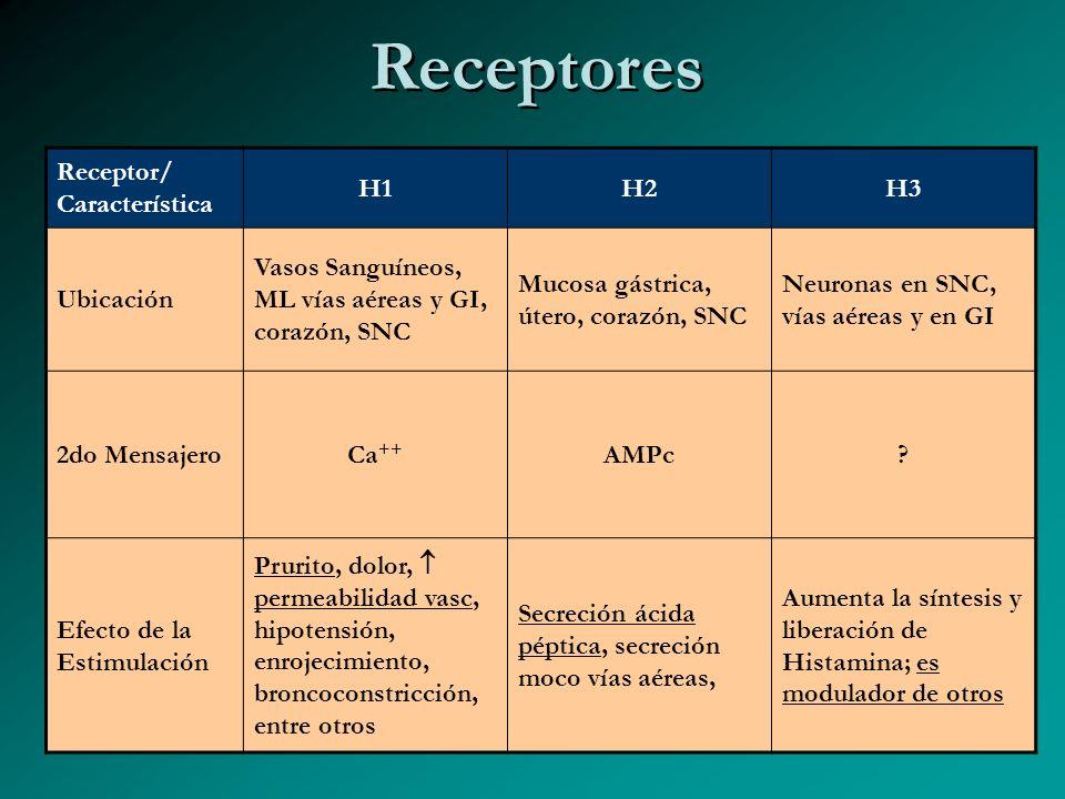 Receptores Receptor/ Característica H1 H2 H3 Ubicación