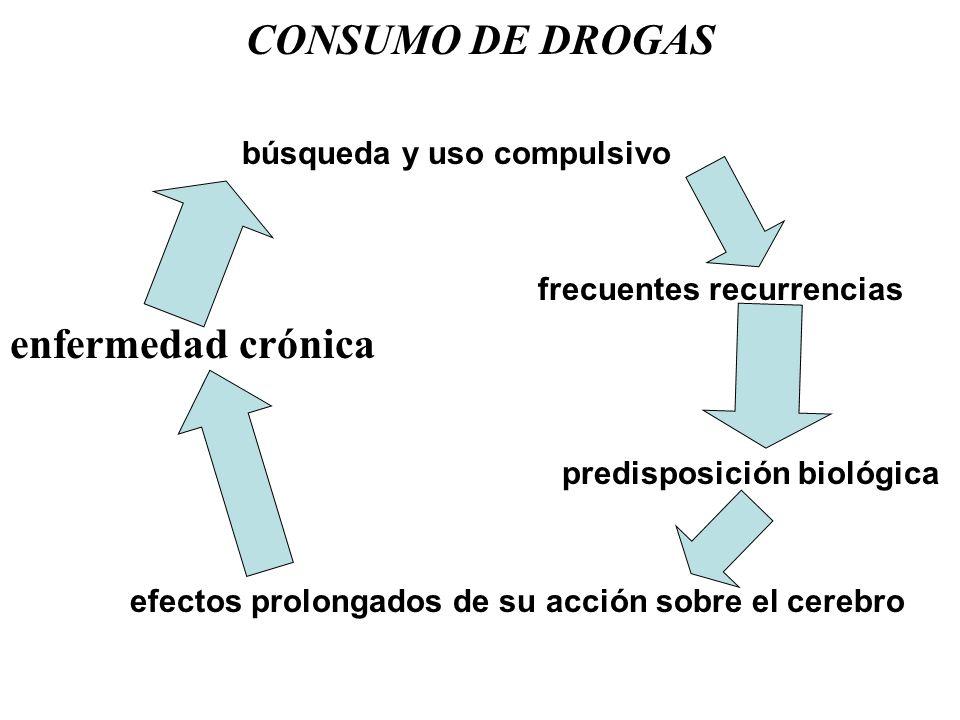CONSUMO DE DROGAS enfermedad crónica búsqueda y uso compulsivo