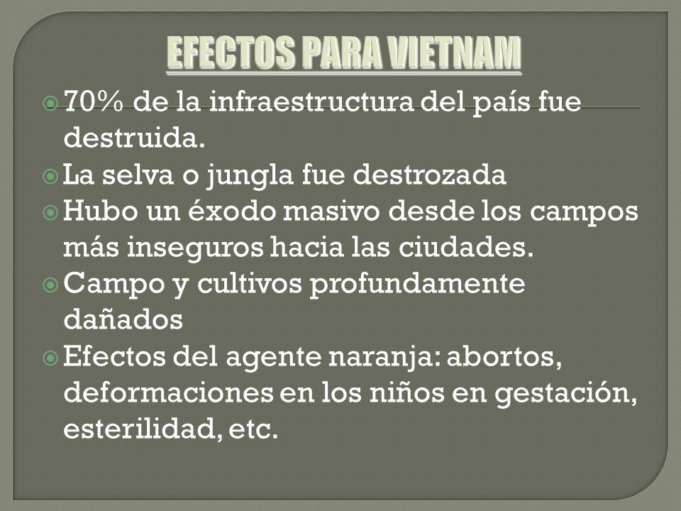 EFECTOS PARA VIETNAM 70% de la infraestructura del país fue destruida.