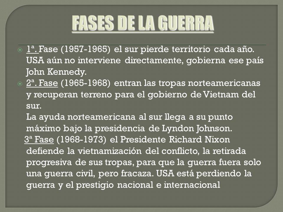 FASES DE LA GUERRA 1ª. Fase (1957-1965) el sur pierde territorio cada año. USA aún no interviene directamente, gobierna ese país John Kennedy.