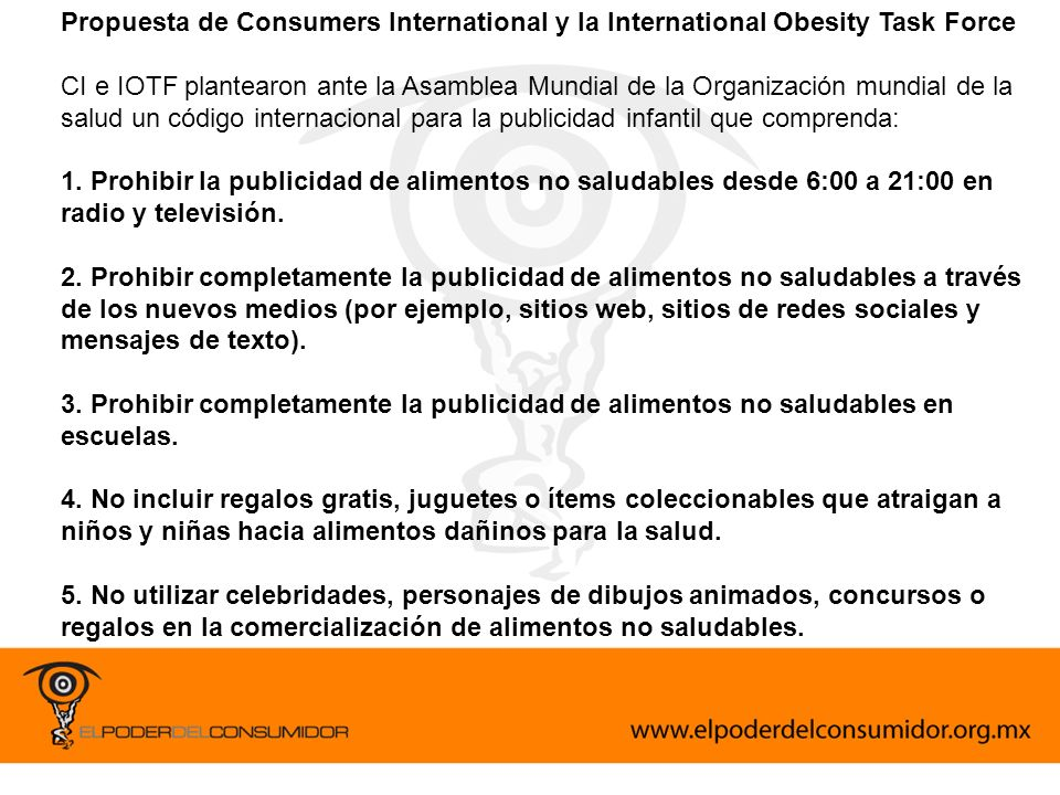 Propuesta de Consumers International y la International Obesity Task Force