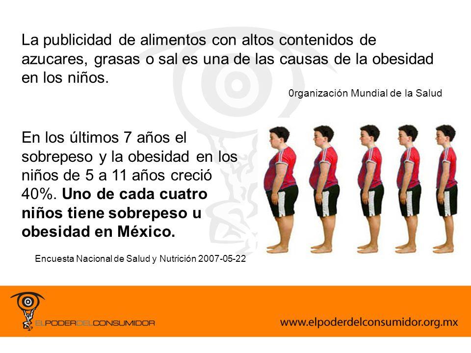 La publicidad de alimentos con altos contenidos de azucares, grasas o sal es una de las causas de la obesidad en los niños.