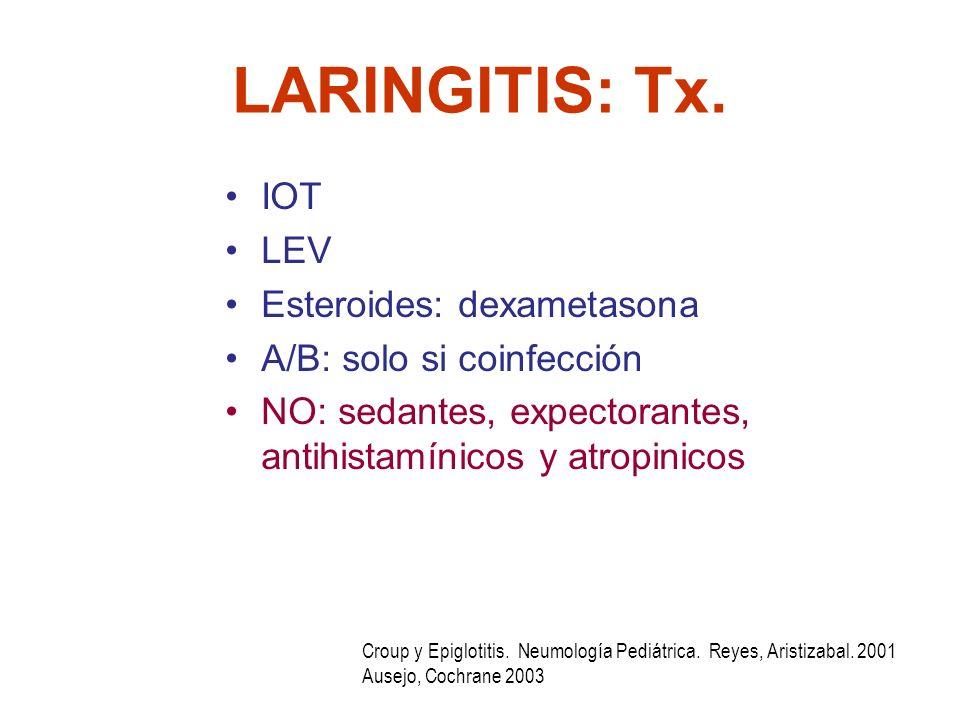 LARINGITIS: Tx. IOT LEV Esteroides: dexametasona