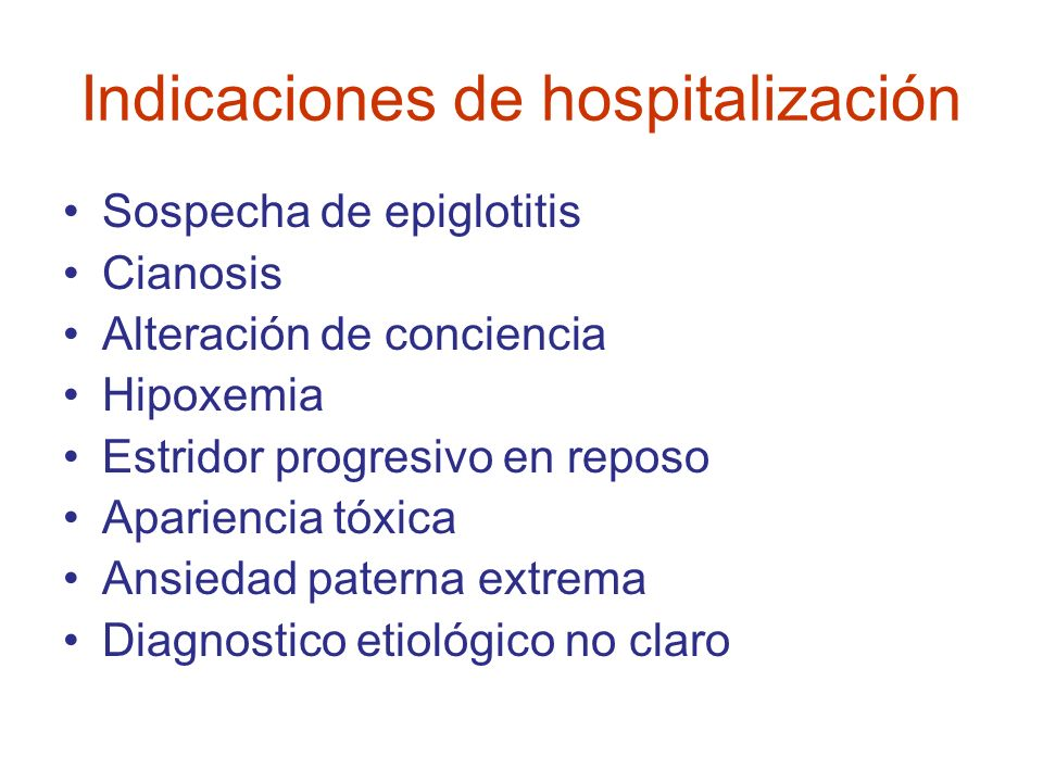 Indicaciones de hospitalización
