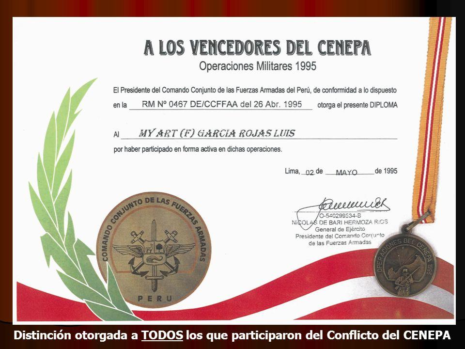 Distinción otorgada a TODOS los que participaron del Conflicto del CENEPA