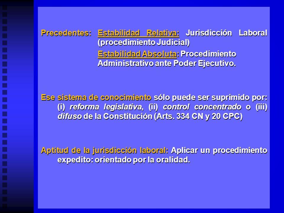 Precedentes:. Estabilidad Relativa: Jurisdicción Laboral