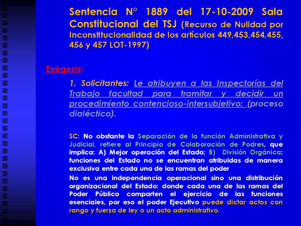 Sentencia N° 1889 del 17-10-2009 Sala Constitucional del TSJ (Recurso de Nulidad por Inconstitucionalidad de los artículos 449,453,454,455, 456 y 457 LOT-1997)