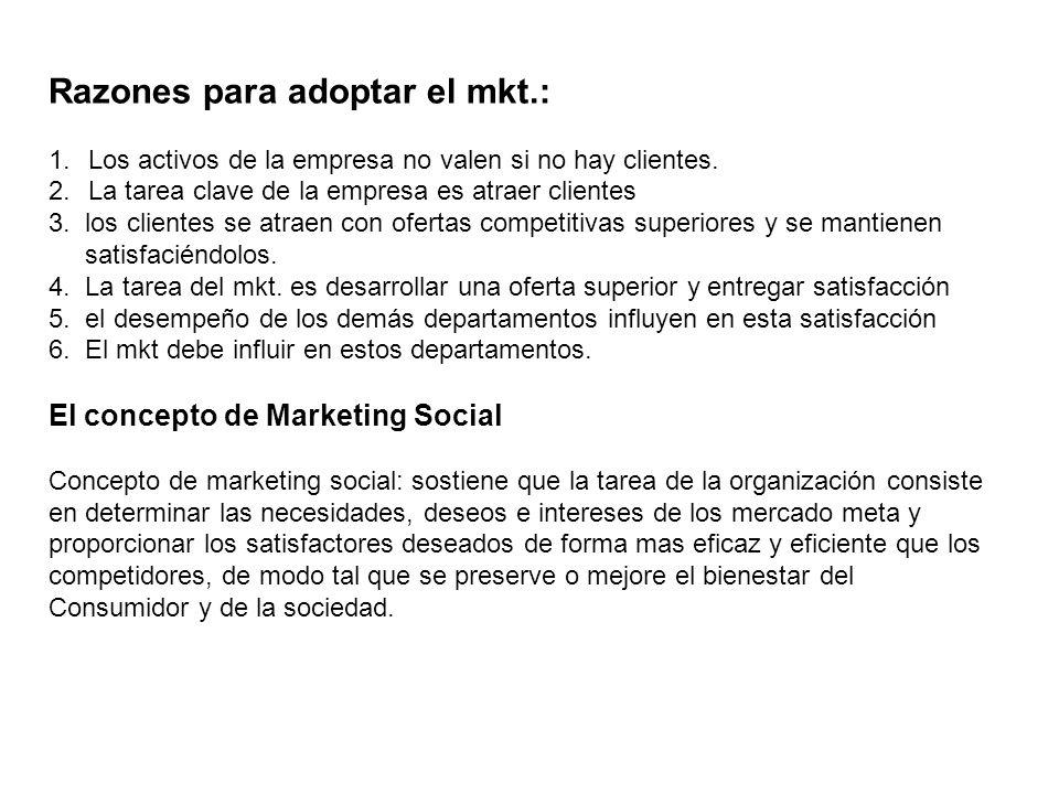 Razones para adoptar el mkt.: