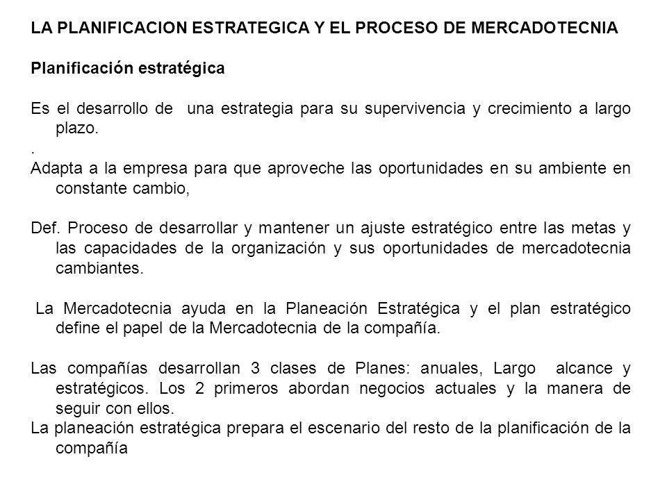 LA PLANIFICACION ESTRATEGICA Y EL PROCESO DE MERCADOTECNIA