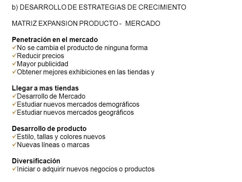 b) DESARROLLO DE ESTRATEGIAS DE CRECIMIENTO