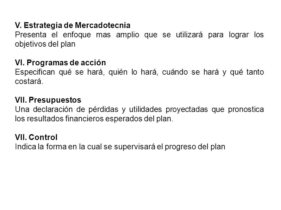 V. Estrategia de Mercadotecnia