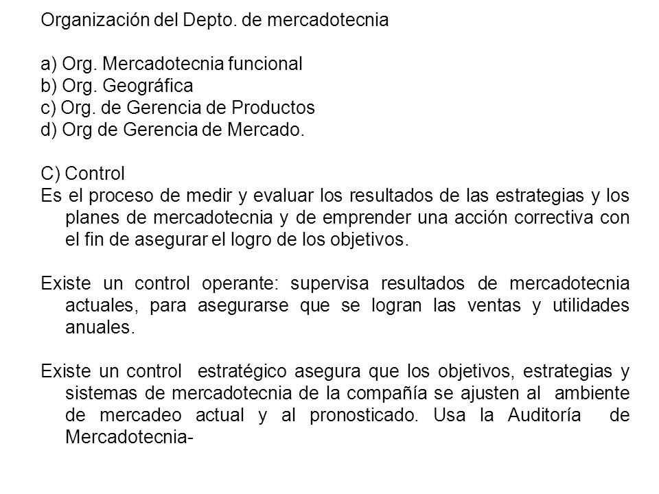Organización del Depto. de mercadotecnia