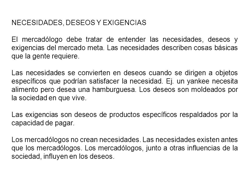 NECESIDADES, DESEOS Y EXIGENCIAS