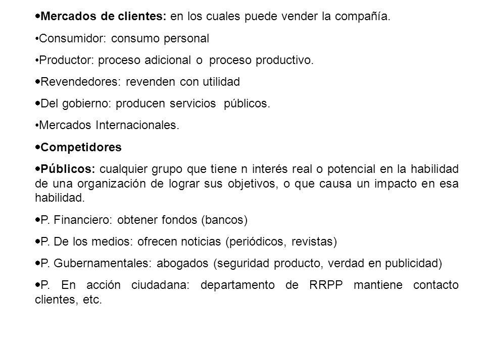 Mercados de clientes: en los cuales puede vender la compañía.