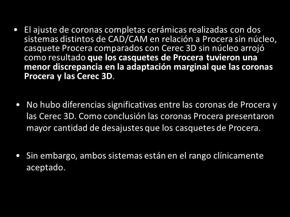 El ajuste de coronas completas cerámicas realizadas con dos sistemas distintos de CAD/CAM en relación a Procera sin núcleo, casquete Procera comparados con Cerec 3D sin núcleo arrojó como resultado que los casquetes de Procera tuvieron una menor discrepancia en la adaptación marginal que las coronas Procera y las Cerec 3D.