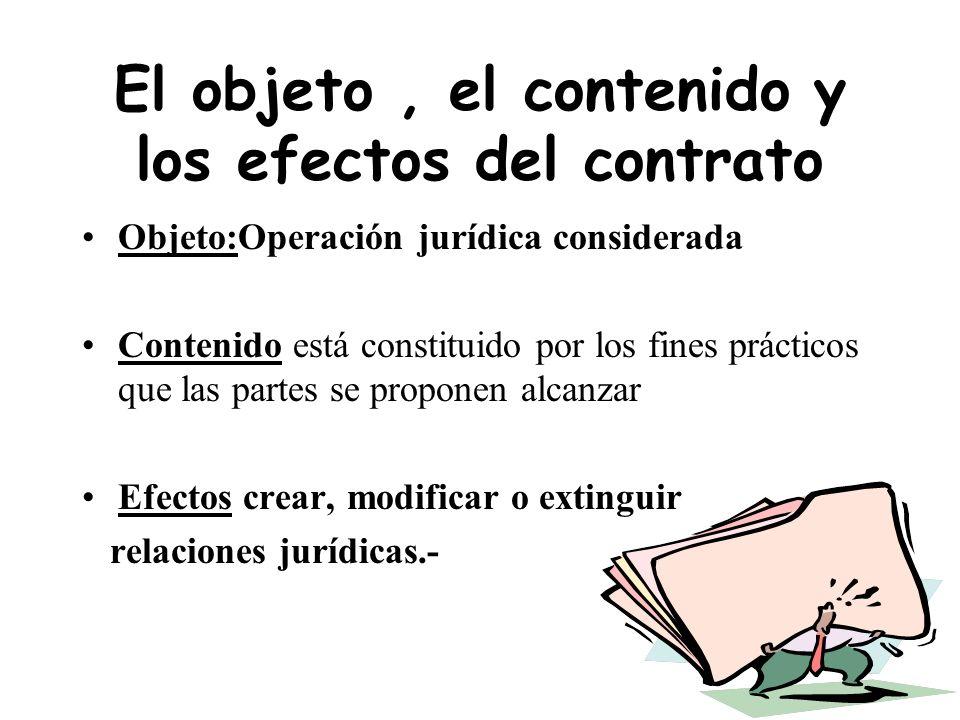 El objeto , el contenido y los efectos del contrato