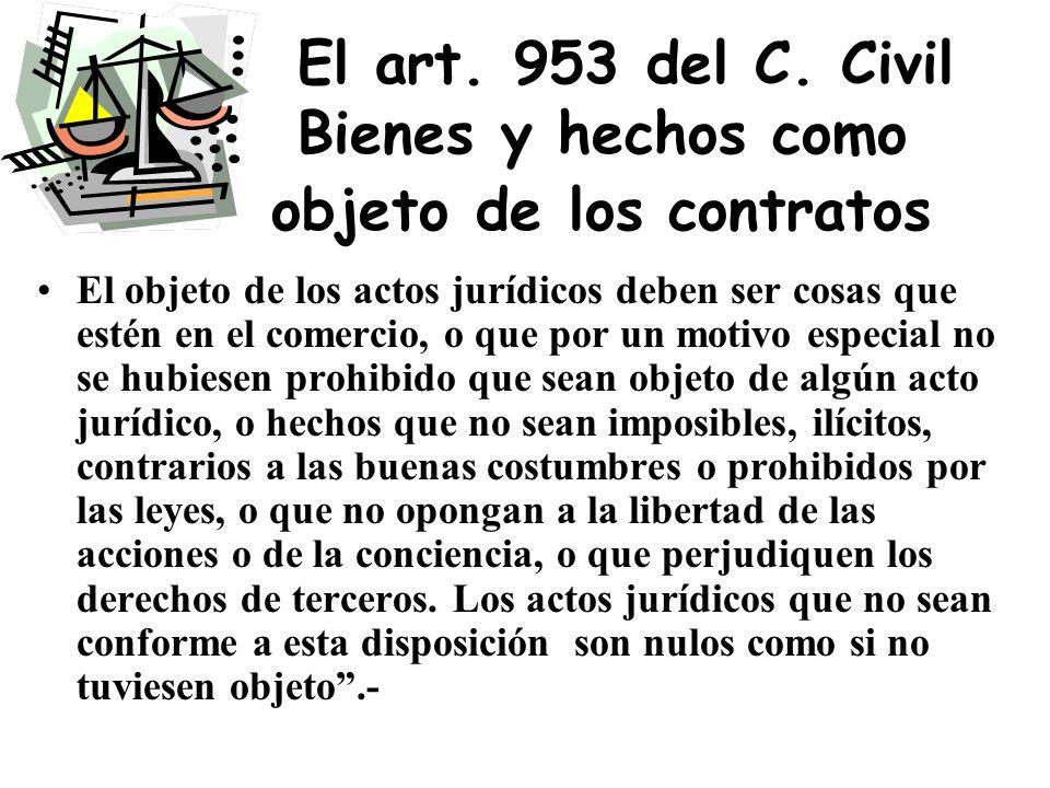 El art. 953 del C. Civil Bienes y hechos como objeto de los contratos