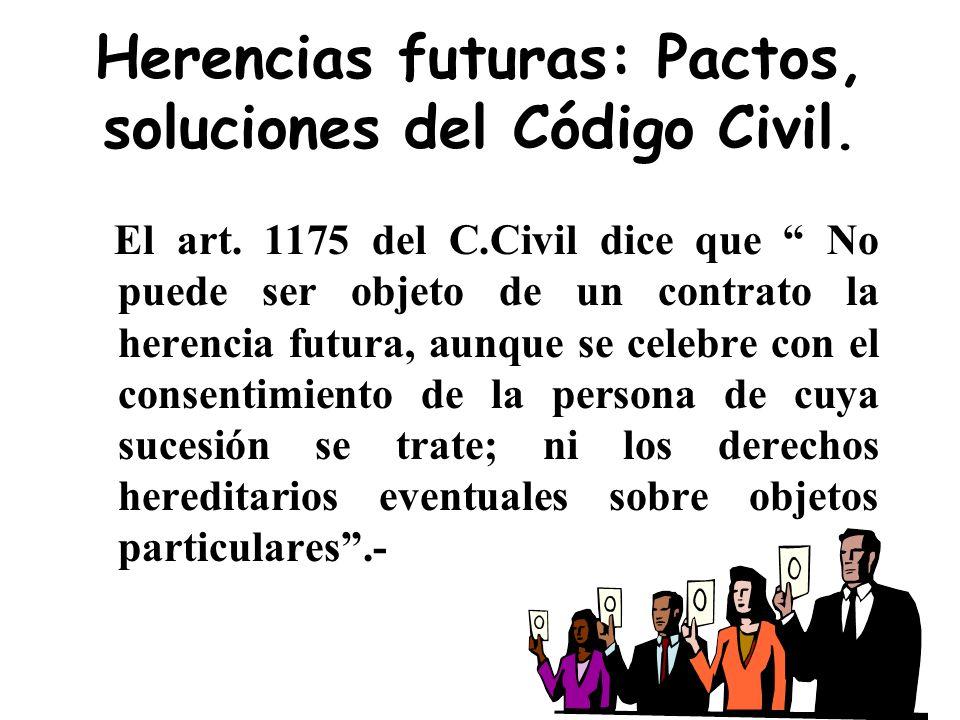 Herencias futuras: Pactos, soluciones del Código Civil.