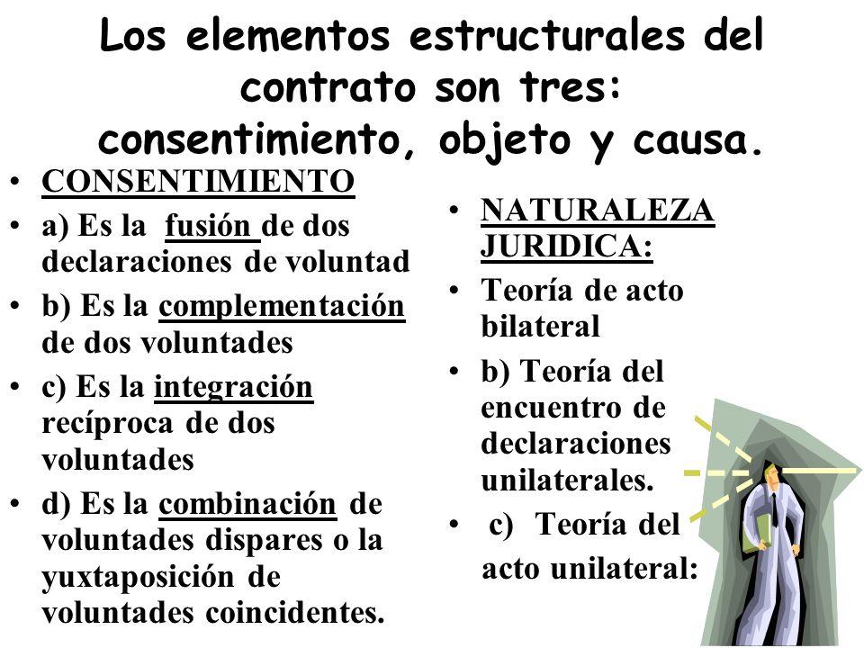 Los elementos estructurales del contrato son tres: consentimiento, objeto y causa.