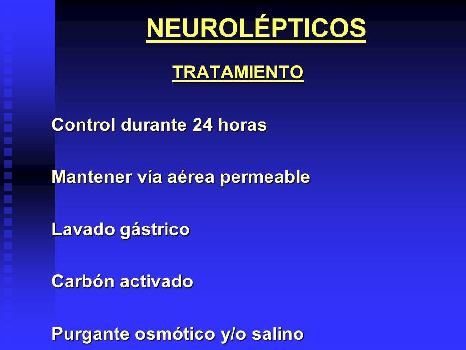 NEUROLÉPTICOS TRATAMIENTO Control durante 24 horas