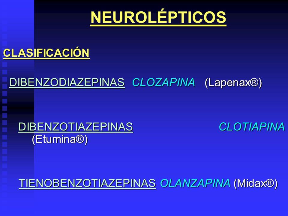 NEUROLÉPTICOS CLASIFICACIÓN DIBENZODIAZEPINAS CLOZAPINA (Lapenax®)