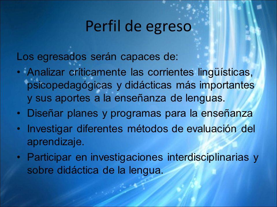 Perfil de egreso Los egresados serán capaces de: