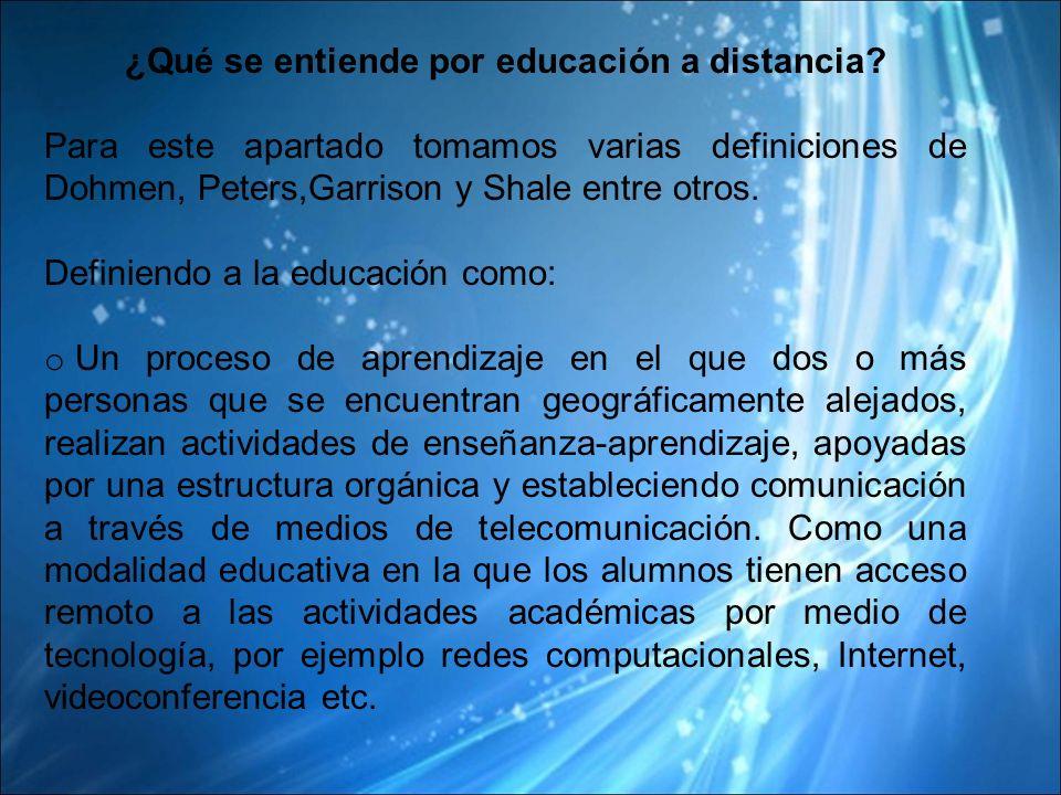 ¿Qué se entiende por educación a distancia
