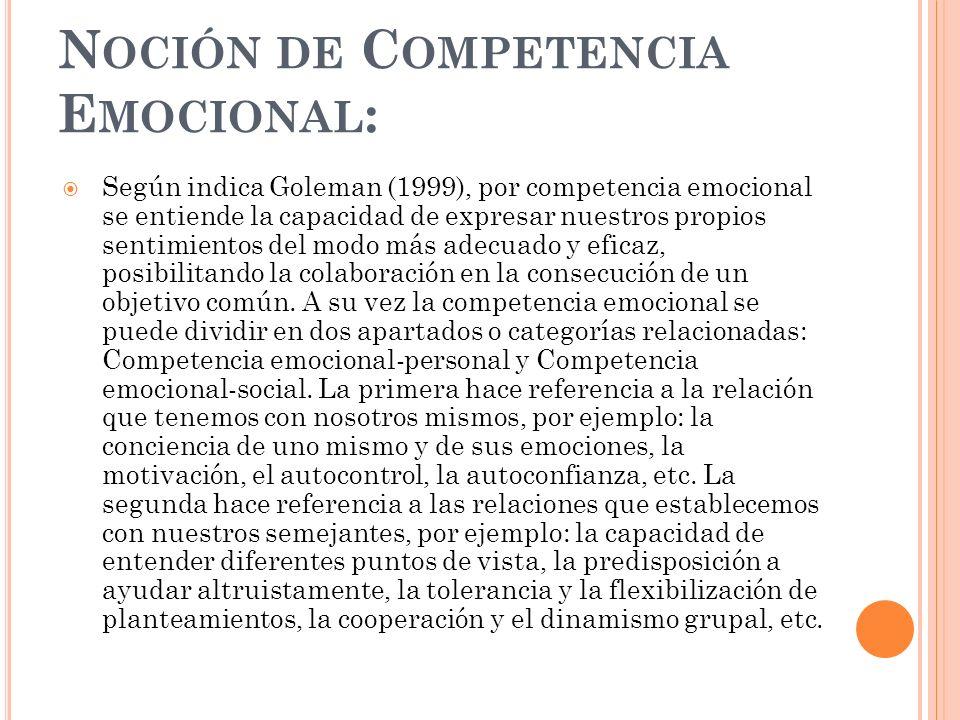 Noción de Competencia Emocional: