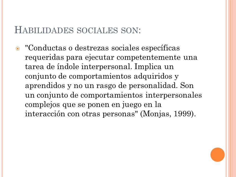 Habilidades sociales son: