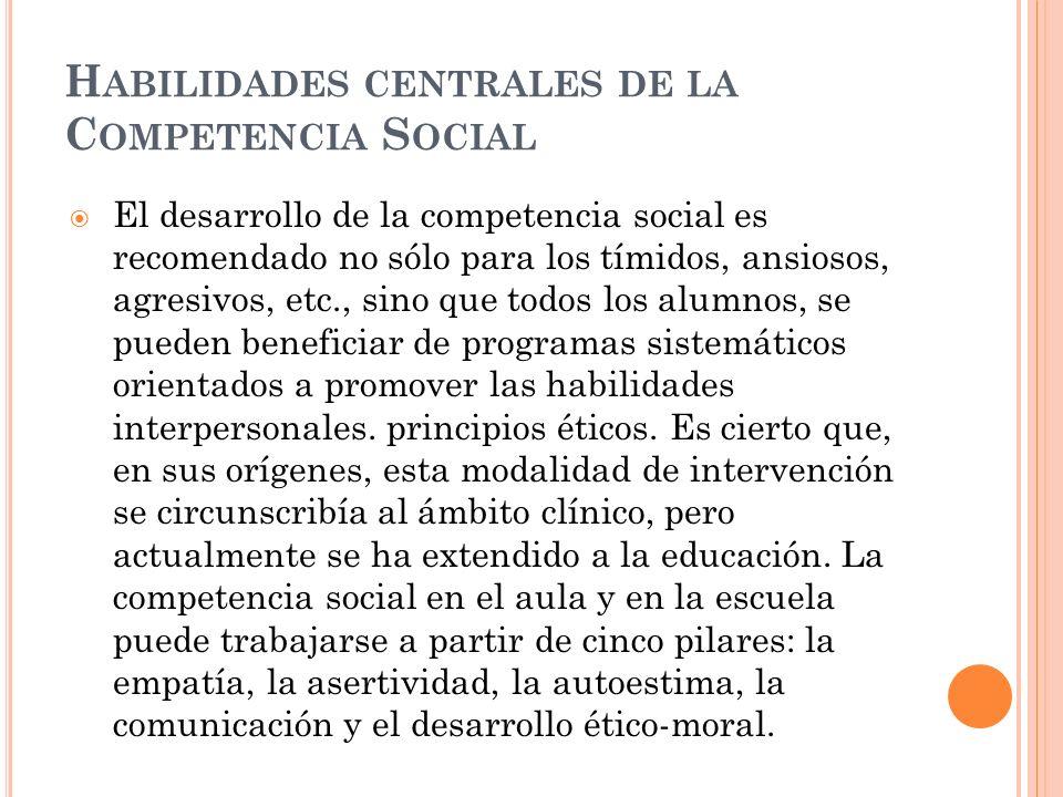 Habilidades centrales de la Competencia Social
