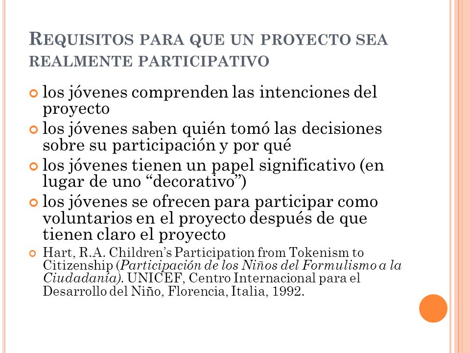 Requisitos para que un proyecto sea realmente participativo