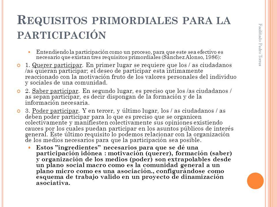 Requisitos primordiales para la participación