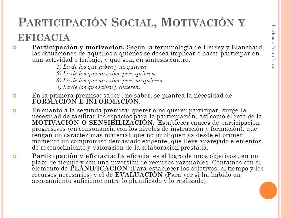 Participación Social, Motivación y eficacia