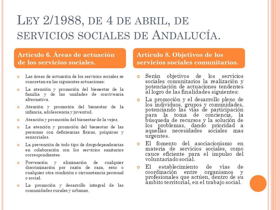 Ley 2/1988, de 4 de abril, de servicios sociales de Andalucía.