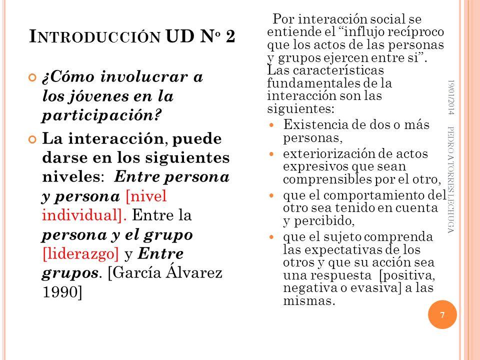 Por interacción social se entiende el influjo recíproco que los actos de las personas y grupos ejercen entre si . Las características fundamentales de la interacción son las siguientes: