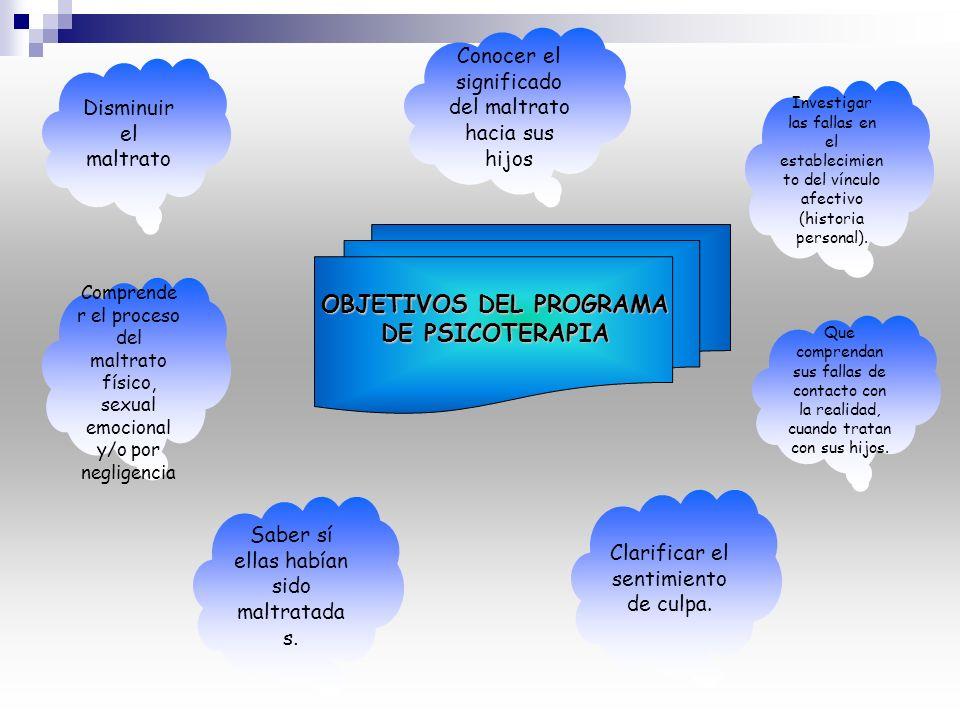 OBJETIVOS DEL PROGRAMA DE PSICOTERAPIA
