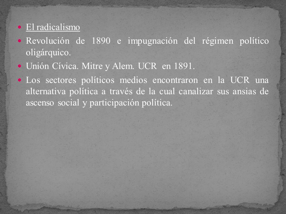 El radicalismo Revolución de 1890 e impugnación del régimen político oligárquico. Unión Cívica. Mitre y Alem. UCR en 1891.