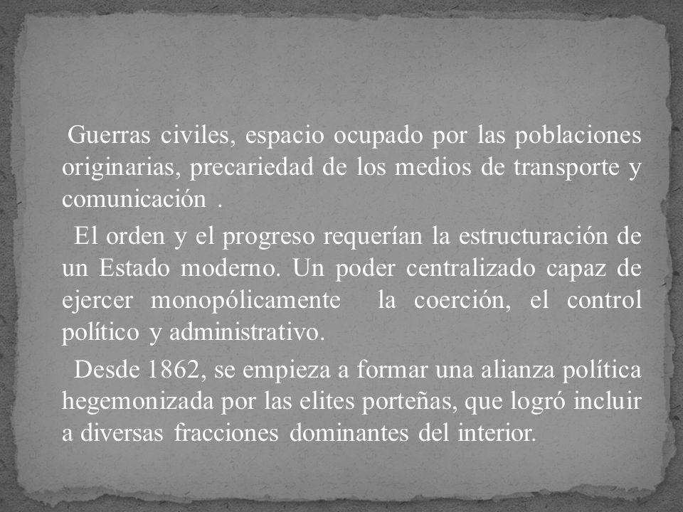 Guerras civiles, espacio ocupado por las poblaciones originarias, precariedad de los medios de transporte y comunicación .