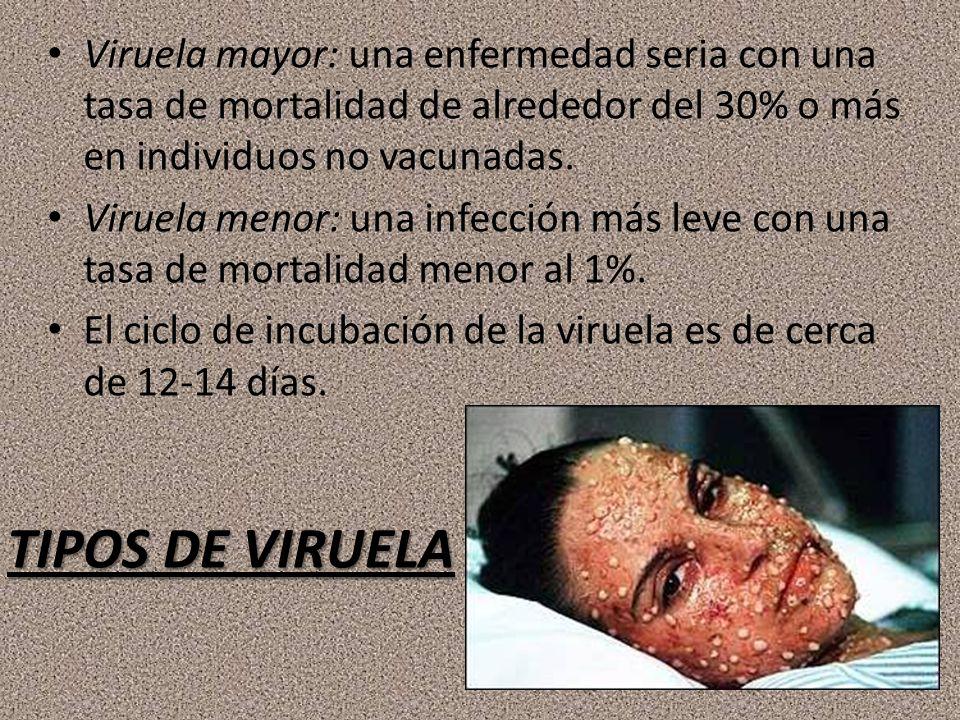 Viruela mayor: una enfermedad seria con una tasa de mortalidad de alrededor del 30% o más en individuos no vacunadas.
