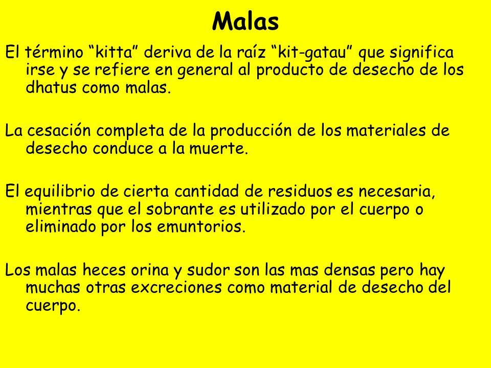 Malas El término kitta deriva de la raíz kit-gatau que significa irse y se refiere en general al producto de desecho de los dhatus como malas.