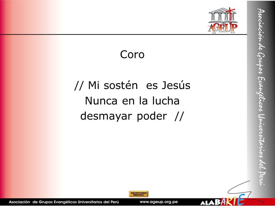 Coro // Mi sostén es Jesús Nunca en la lucha desmayar poder //