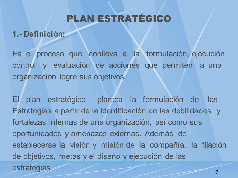 PLAN ESTRATÉGICO 1.- Definición: