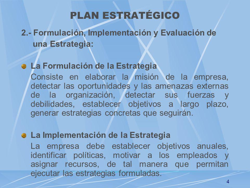 PLAN ESTRATÉGICO 2.- Formulación, Implementación y Evaluación de