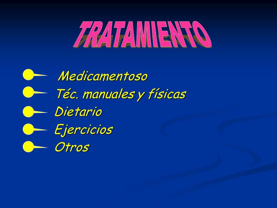 TRATAMIENTO Medicamentoso Téc. manuales y físicas Dietario Ejercicios