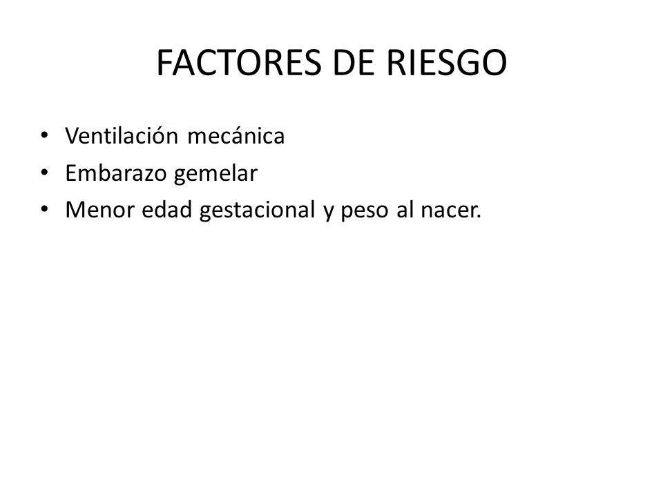 FACTORES DE RIESGO Ventilación mecánica Embarazo gemelar