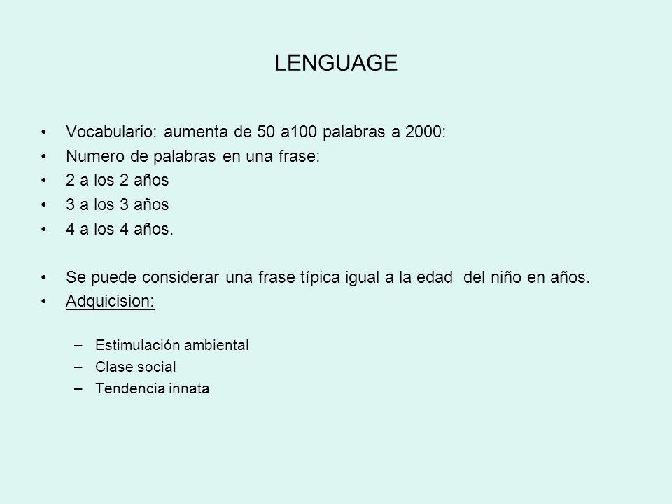 LENGUAGE Vocabulario: aumenta de 50 a100 palabras a 2000: