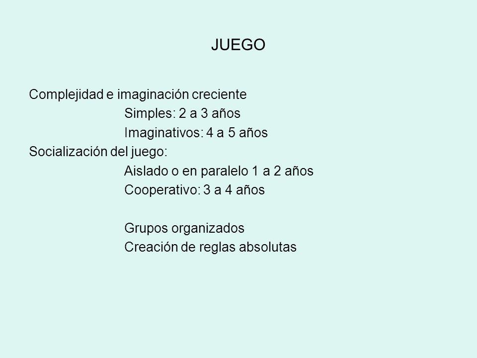 JUEGO Complejidad e imaginación creciente Simples: 2 a 3 años